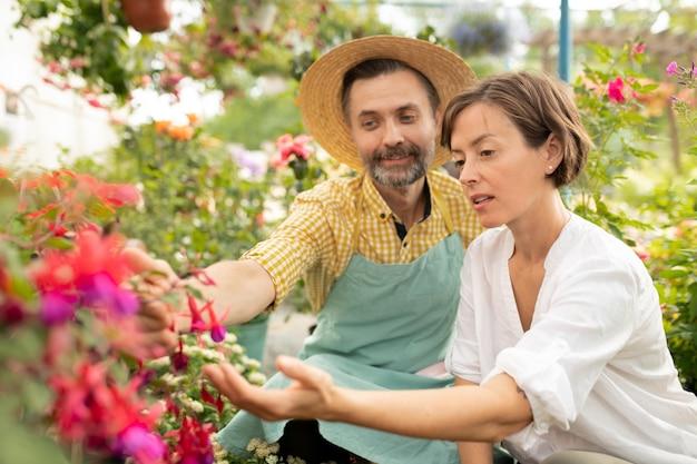 Volwassen tuinman die jonge vrouw nieuwe soorten bloemen in de serre toont en het aan haar beschrijft