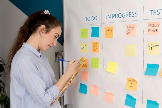 Volwassen vrouw die businessplan voorstelt