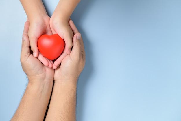 Volwassene en kindhanden die rood geïsoleerd hart, gezondheidszorg, liefde en familieverzekeringsconcept houden