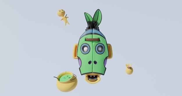 Voodoo-schedel, pop, drankje. 3d-gerenderde afbeelding in 4k.