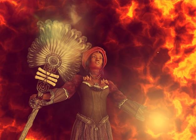 Voodoo sjamaan, afrikaanse heks vrouw toveren, 3d illustratie.