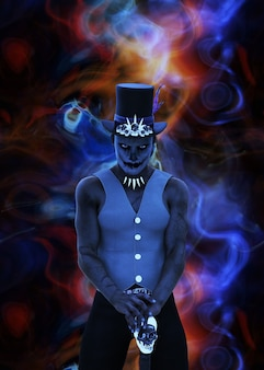 Voodoo sjamaan, afrikaanse tovenaar man toveren, 3d illustratie.