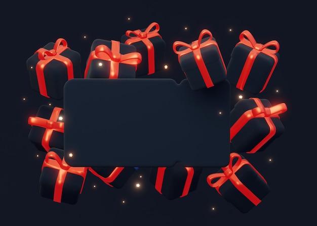 Voor black friday-verkoopfeesten een donkere blanco 3d-bon met een frame van geschenken met rode strikken