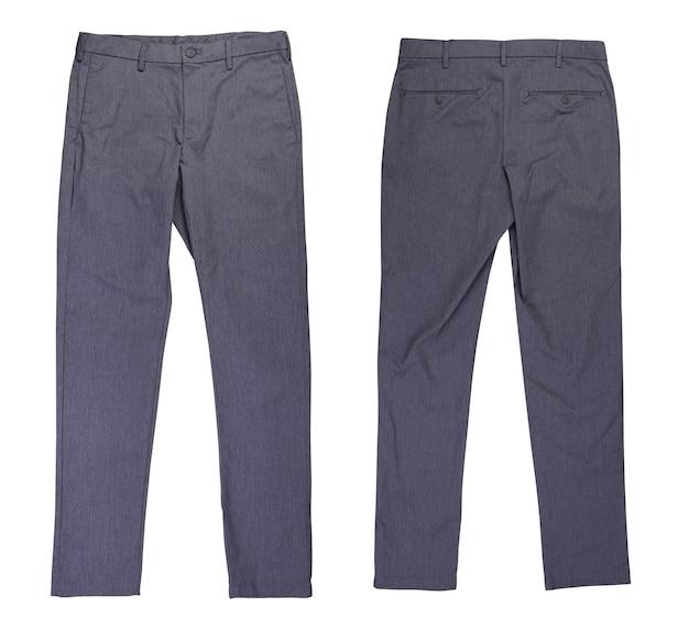 Voor- en achterkant grijze casual chino broek op witte achtergrond
