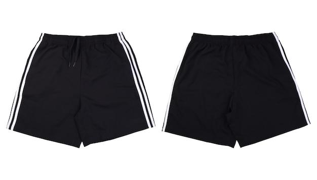 Voor- en achterkant zwarte korte broek uitgevoerd op witte achtergrond