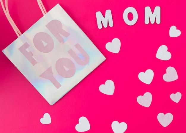 Voor jou moeder inscriptie met harten