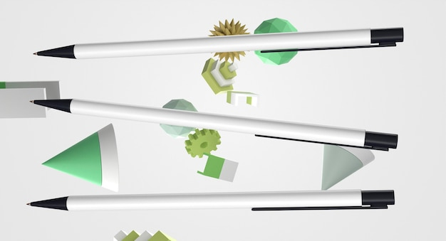 Vooraanzicht 3d witte en zwarte pennen en geometrische objecten