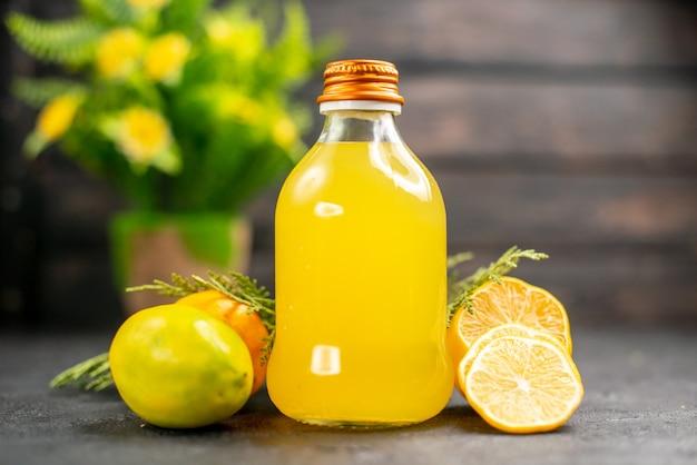 Vooraanzicht citroensap citroenen citroenen plakjes potplant