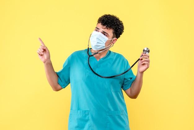 Vooraanzicht dokter de dokter in masker danst