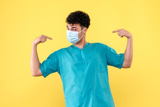 Vooraanzicht dokter de dokter in masker laat zich zien