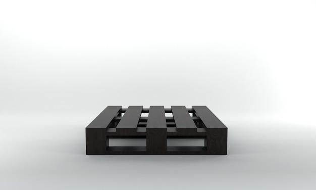 Vooraanzicht donker houten pallet 3d render
