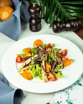 Vooraanzicht gegrilde kipfilet met groente salade en chips op een plaat