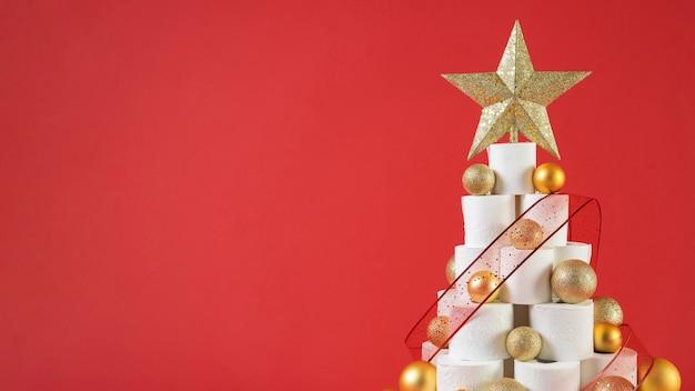 Vooraanzicht kerst wc-papier boom kopie ruimte