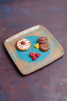 Vooraanzicht kleine romige cake met chocoladekoekjes op donkere achtergrond biscuit suiker cake zoete taart