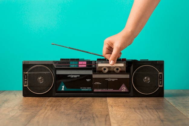 Vooraanzicht minimalistische vintage cassette