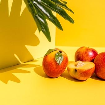 Vooraanzicht perziken en schaduwen