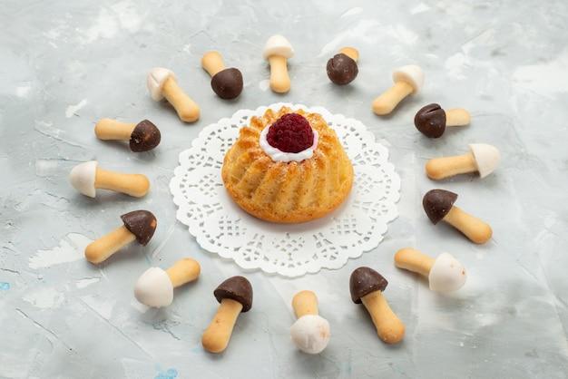 Vooraanzicht plak koekjes zacht met verschillende chocoladekapjes bekleed met cake op het grijze lichte oppervlak cake koekjeskoekje