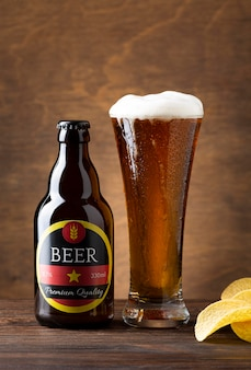 Vooraanzicht smakelijke amerikaanse biersamenstelling