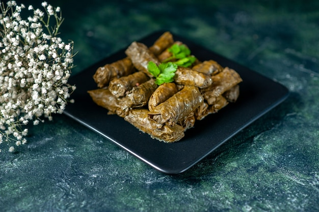 Vooraanzicht smakelijke blad dolma binnen plaat op donkere achtergrond calorie olie diner eten restaurant maaltijd salade vlees