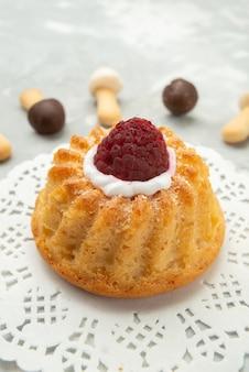 Vooraanzicht stok buscuits zacht met verschillende chocolade capes bekleed met cake op het grijze lichte oppervlak cake koekjeskoekje