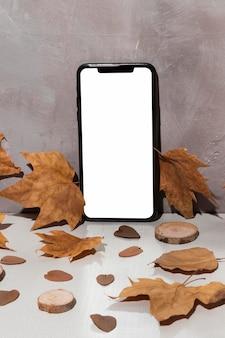 Vooraanzicht van apparaat met bladerenconcept
