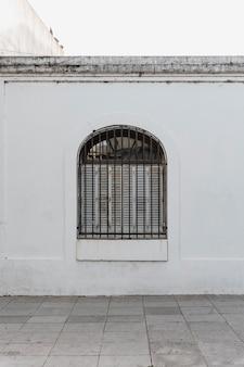 Vooraanzicht van de architectuur van het raamgebouw