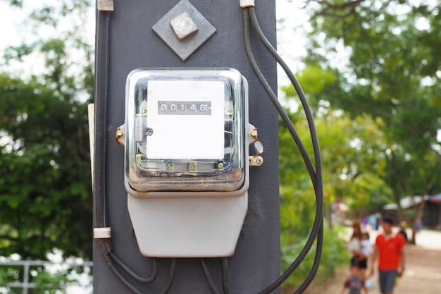Vooraanzicht van de elektrische meter