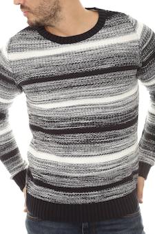 Vooraanzicht van de mens met sweatshirt op witte achtergrond