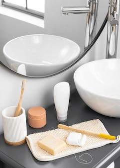 Vooraanzicht van eco cosmetica concept