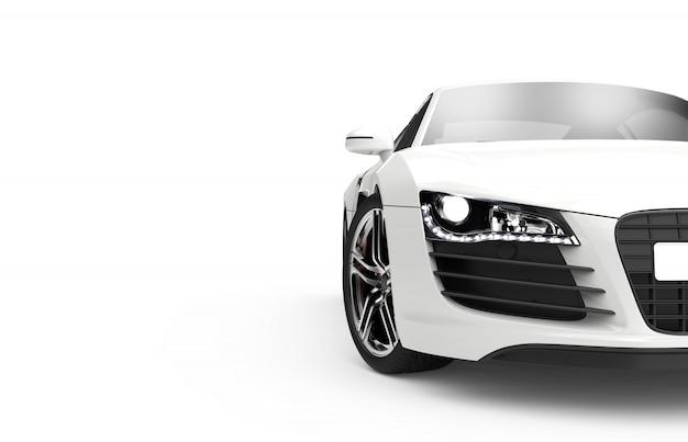 Vooraanzicht van een generieke en merkloze moderne auto