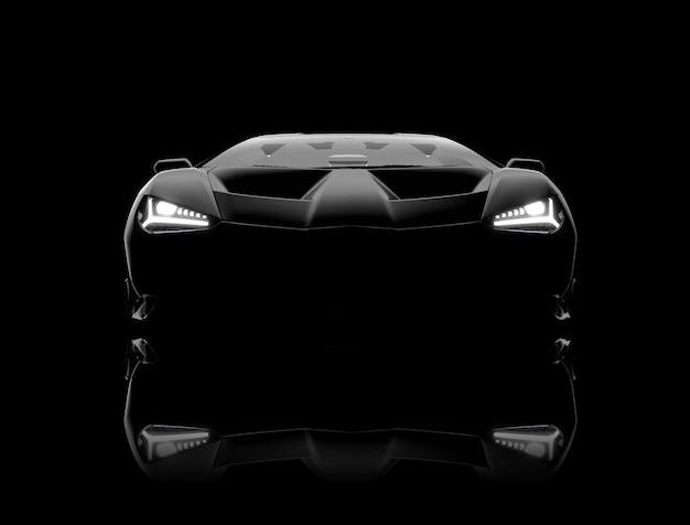 Vooraanzicht van een generieke en merkloze moderne zwarte auto