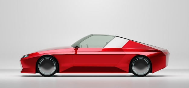 Vooraanzicht van een generieke rode merkloze ev-auto geïsoleerd op een witte achtergrond. 3d-rendering met mijn eigen creatief ontwerp.
