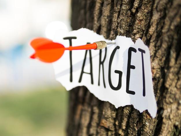 Vooraanzicht van een stuk papier met doel vast aan boomschors