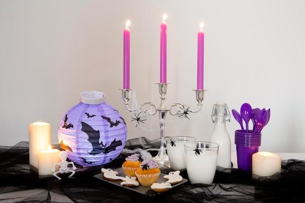 Vooraanzicht van halloween snoepjes concept