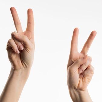 Vooraanzicht van handen die vredestekens tonen