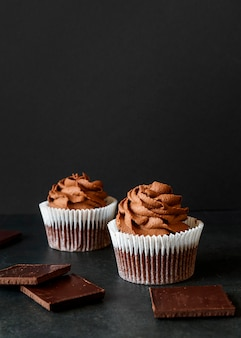 Vooraanzicht van heerlijk cupcake-concept
