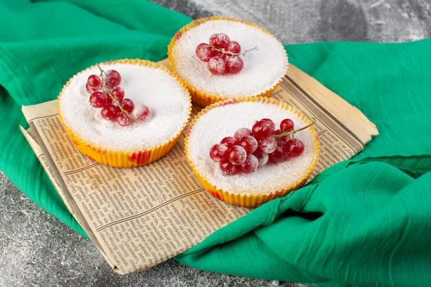 Vooraanzicht van heerlijke veenbessencakes met rode amerikaanse veenbessen op hoogste suikerstukken en poeder