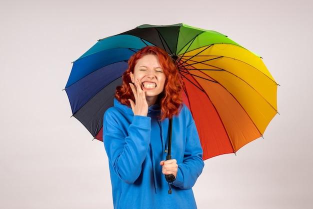 Vooraanzicht van jong wijfje met kleurrijke paraplu op witte muur