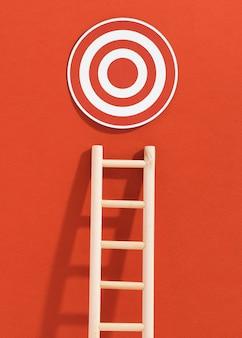 Vooraanzicht van ladder met doel