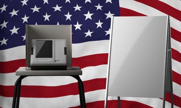 Vooraanzicht van leeg aanplakbiljet met stemhokje en vlag voor ons verkiezingen