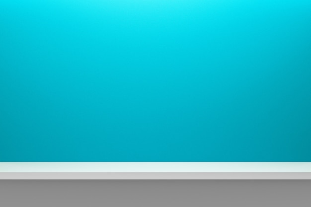 Vooraanzicht van lege plank op lichtblauwe lijst en muurachtergrond met modern minimaal concept.