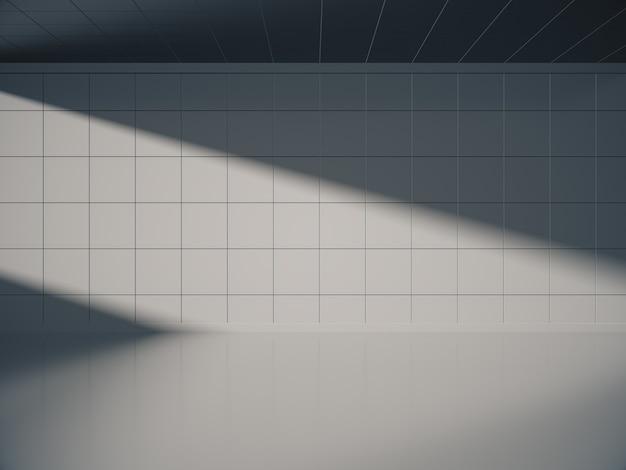 Vooraanzicht van lege witte ruimte voor product show met zijverlichting