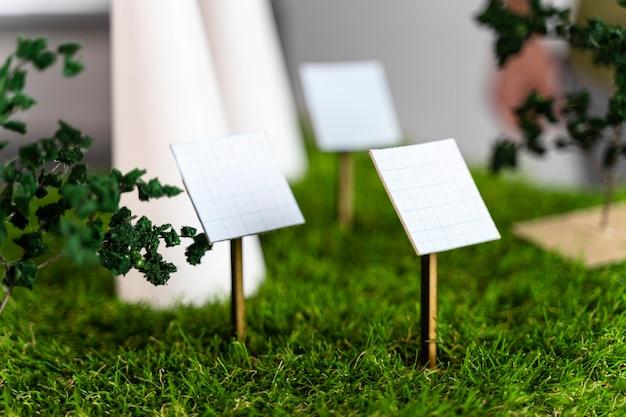 Vooraanzicht van milieuvriendelijk windenergieproject