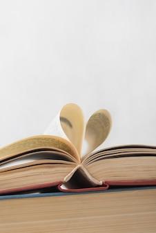 Vooraanzicht van open boek met exemplaarruimte