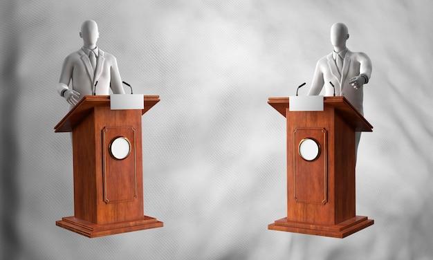 Vooraanzicht van podia met kandidaten voor amerikaanse verkiezingen