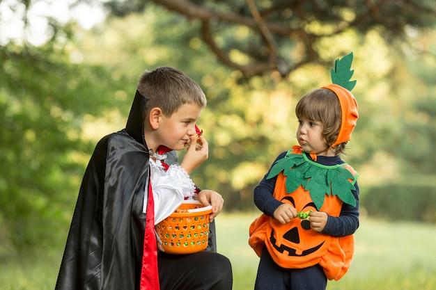 Vooraanzicht van pompoen en dracula halloween-kostuums
