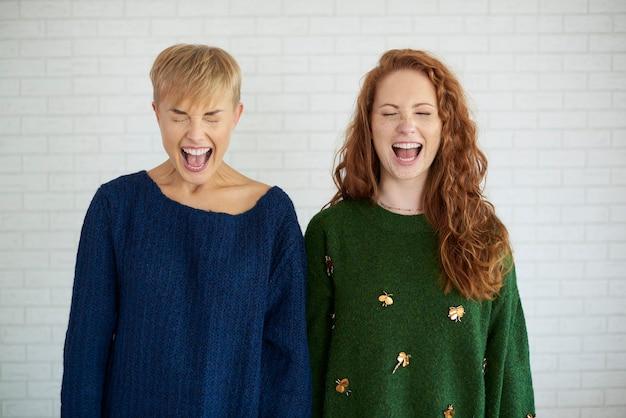 Vooraanzicht van twee opgewonden meisjes die schreeuwen