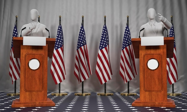 Vooraanzicht van twee podia met amerikaanse vlaggen en kandidaten voor amerikaanse verkiezingen
