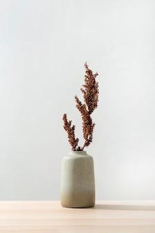 Vooraanzicht van vaas met plant