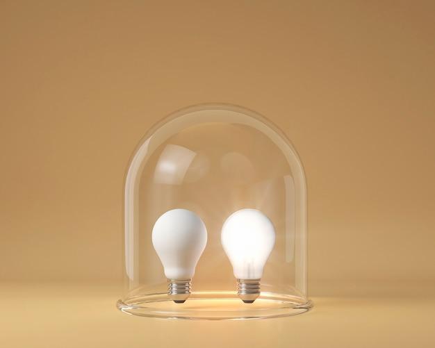 Vooraanzicht van verlichte en onverlichte gloeilampen beschermd door helder glas als een ideeconcept